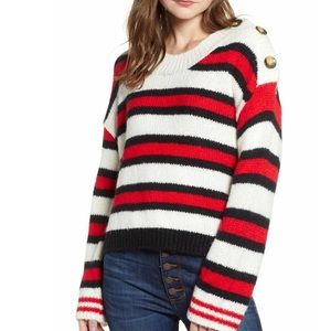 BP. Nordstrom Button Shoulder Striped Sweater